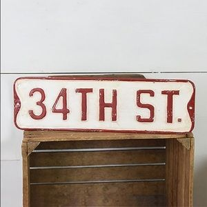 NWT '34th St.' Tin Wall Sign
